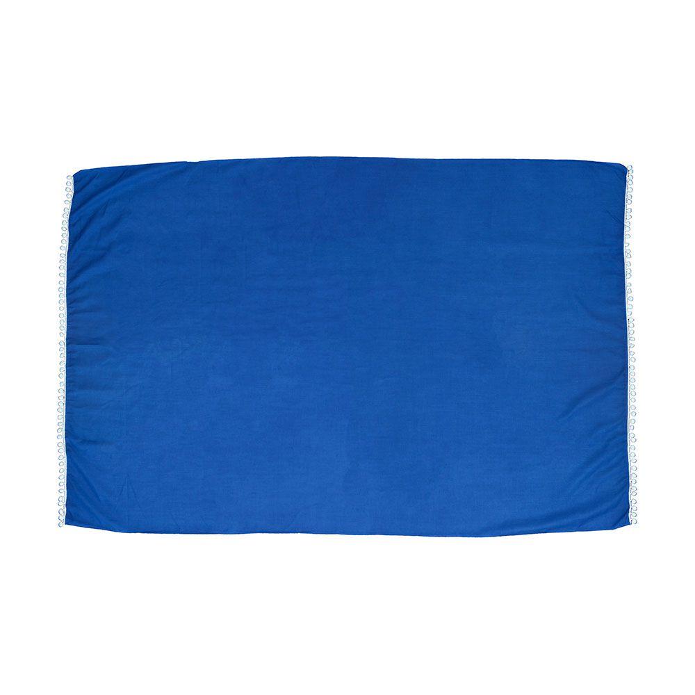Canga de Praia Lisa Azul Com Pom Pom