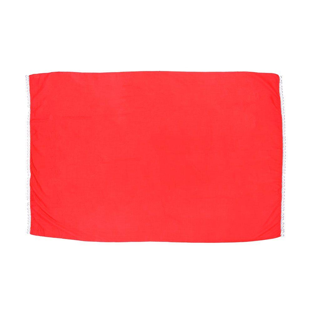 Canga de Praia Lisa Vermelha Com Pom Pom