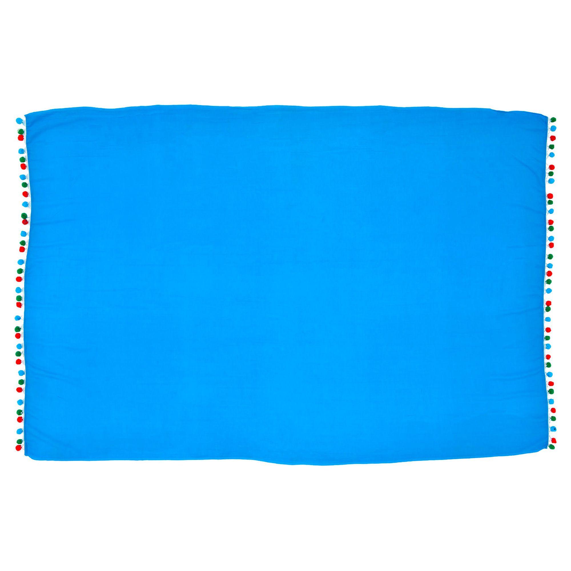 Canga Lisa Com Pom Pom Grande Azul