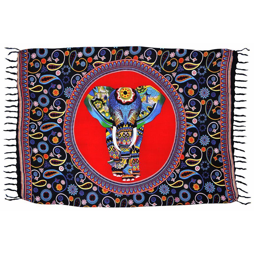 Canga Mandala Elefante Índia Rainbow