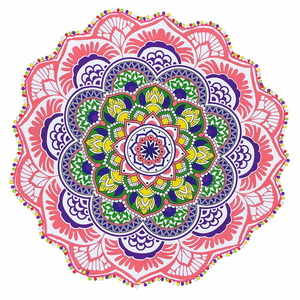 Canga Redonda Mandala Colors com pompom