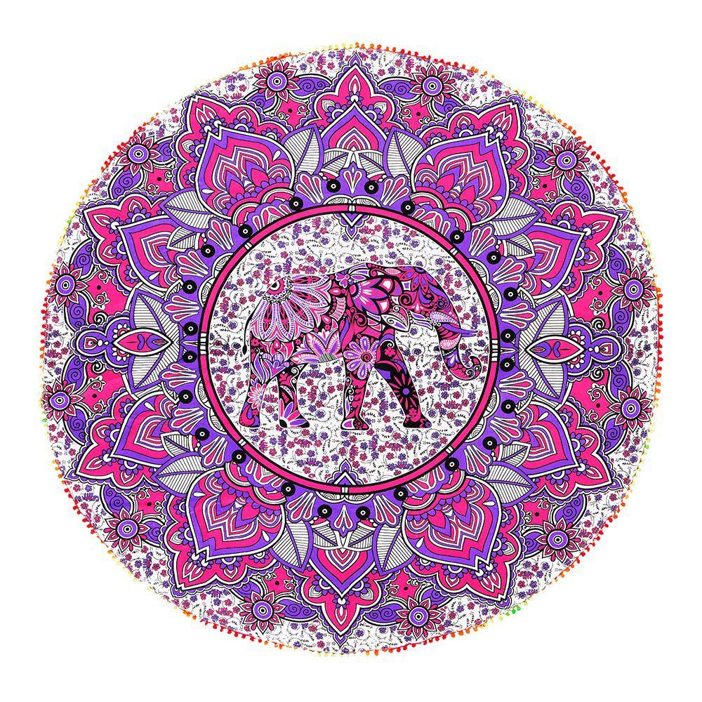 Canga Redonda Mandala Com Elefante Central