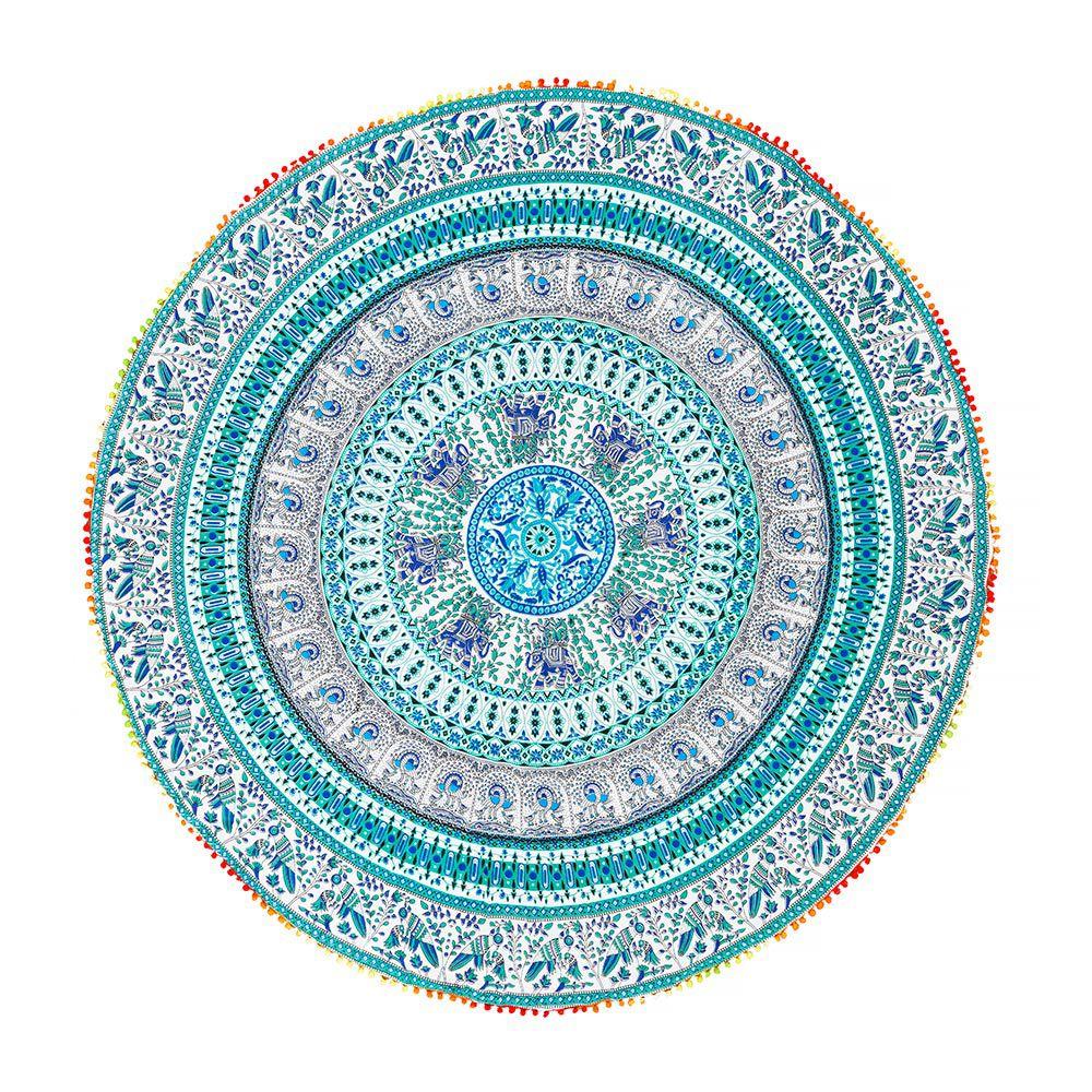 Canga Redonda Mandala Com Elefantes E Pássaros