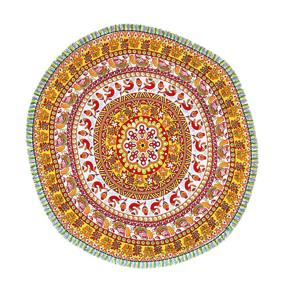 Canga Redonda Mandala Floral Com Tassel
