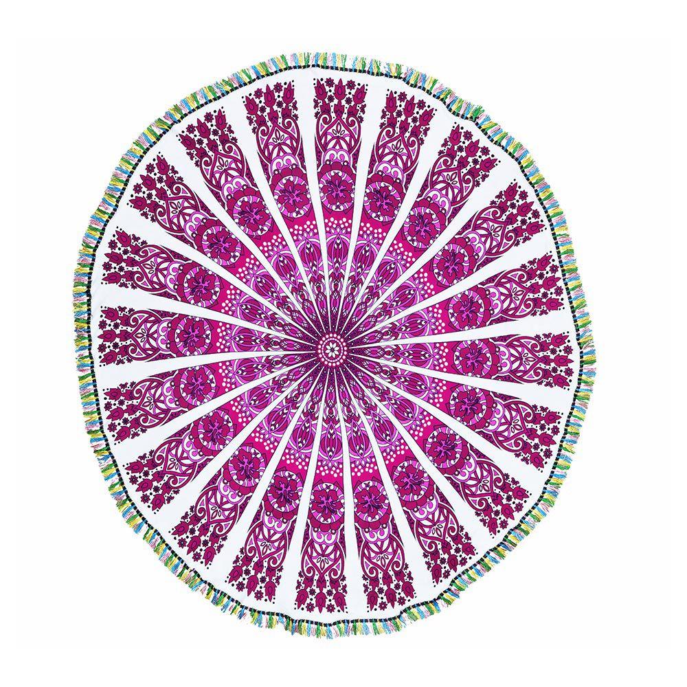 Canga Redonda Mandala Flores E Pássaros Com Tassel