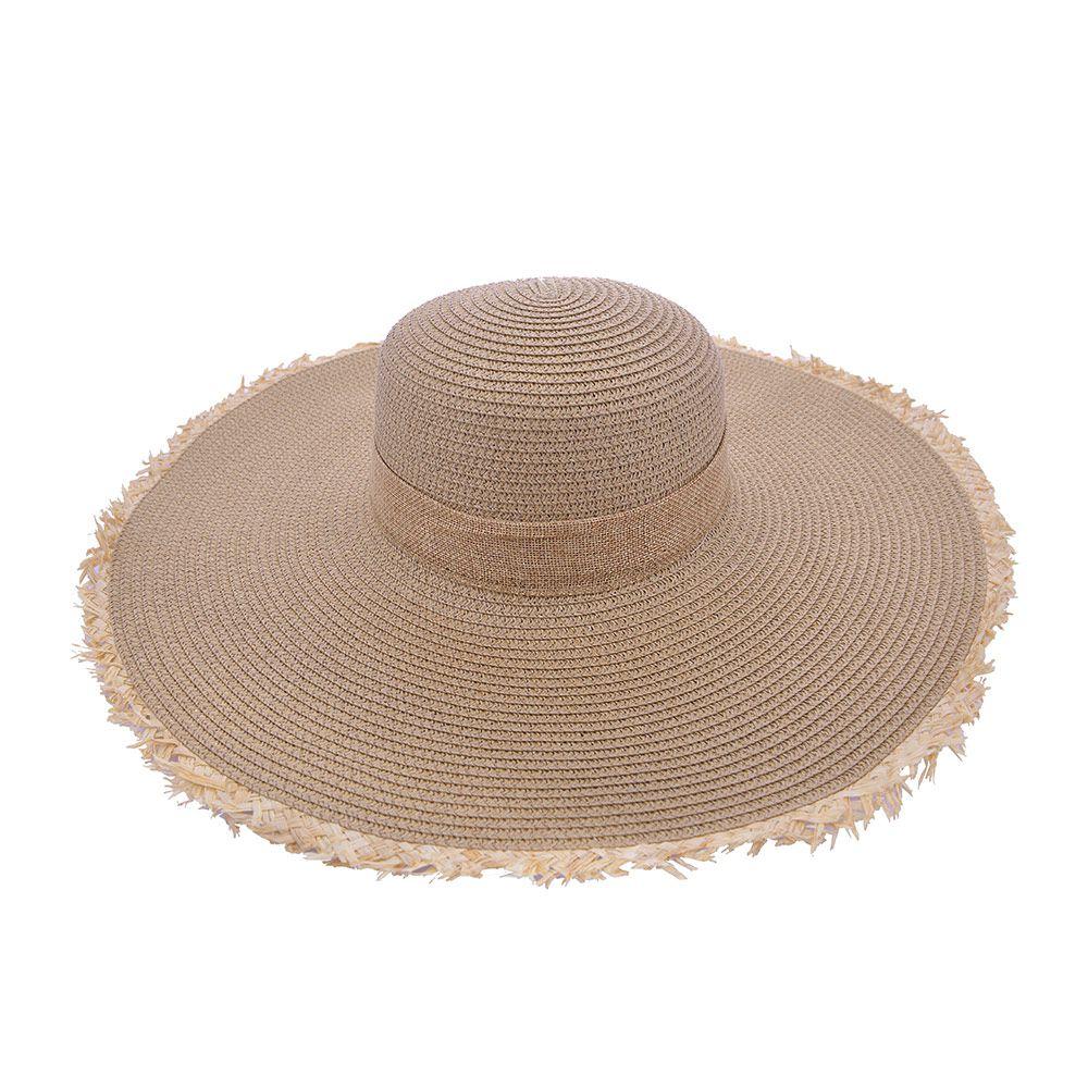 Chapéu De Praia Laço Com Detalhes Em Palha
