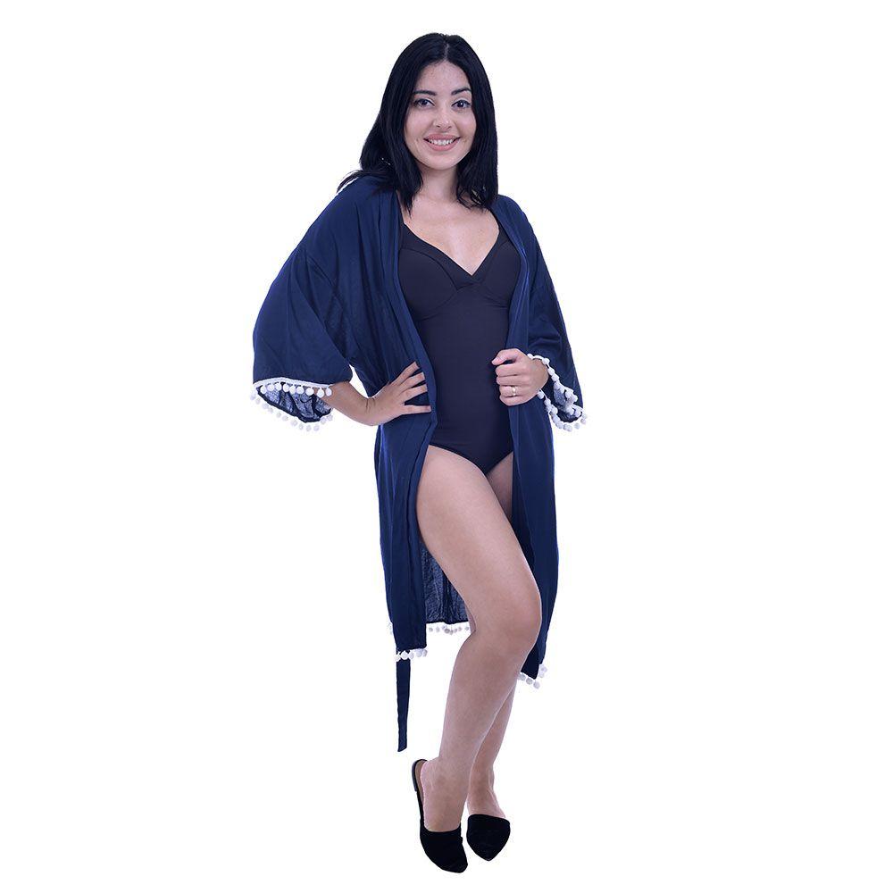Saída De Praia Kimono Curto Com Pom Pom