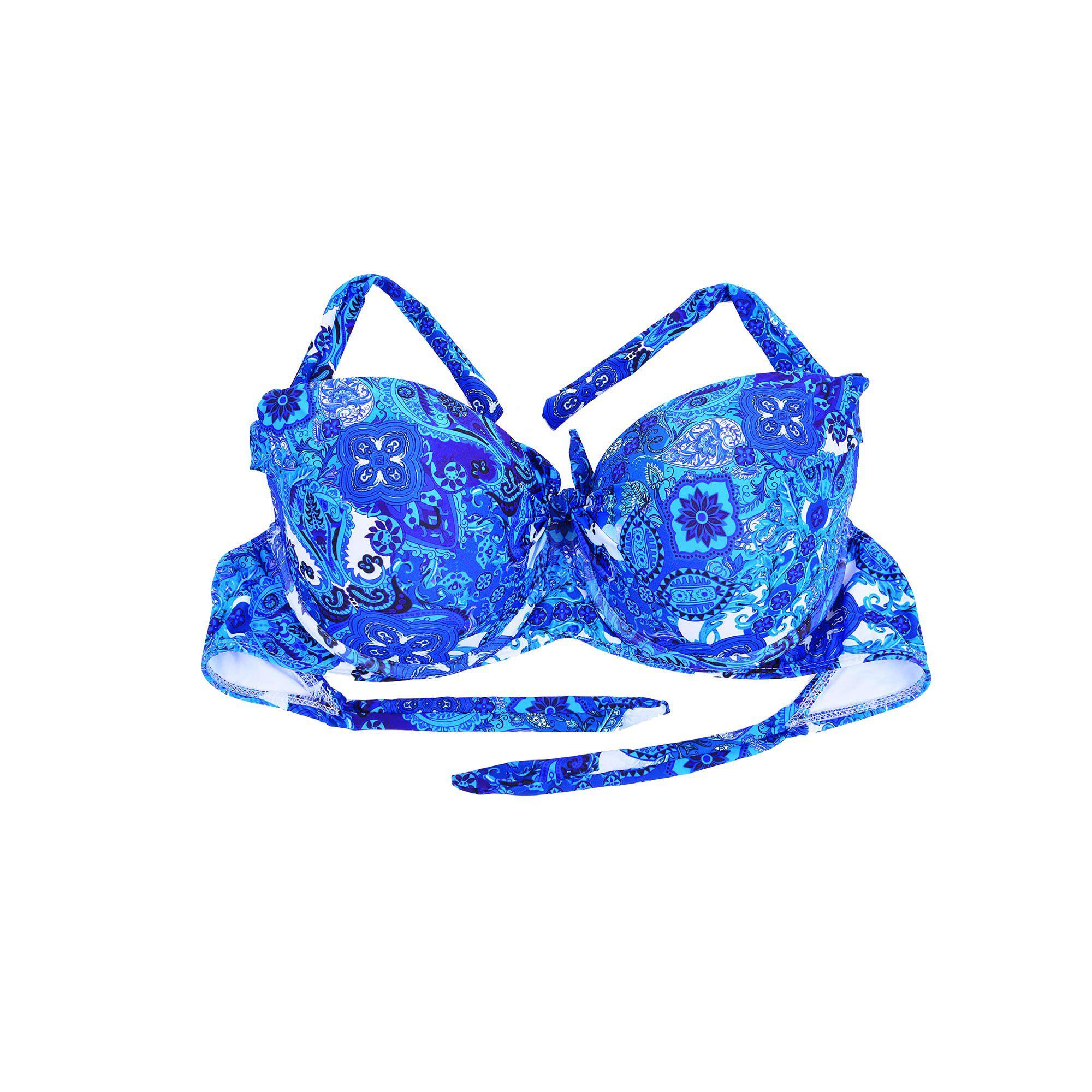 Top Bojo Com Nó Estampa Flor Azul Branco