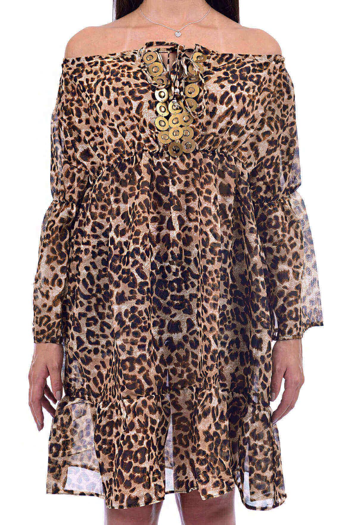 Vestido Ombro a Ombro com Pedraria no Decote Animal Print