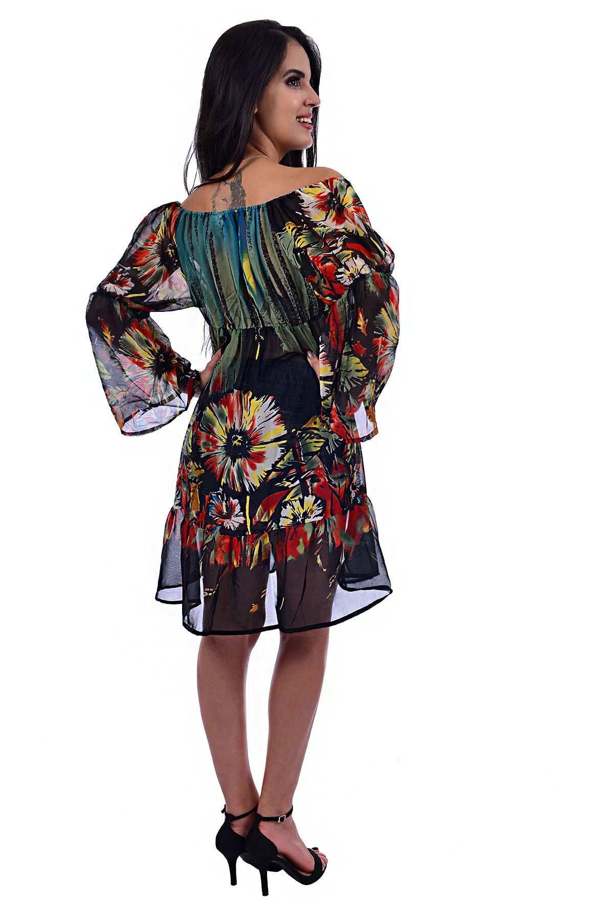 Vestido Ombro a Ombro com Pedraria no Decote Floral