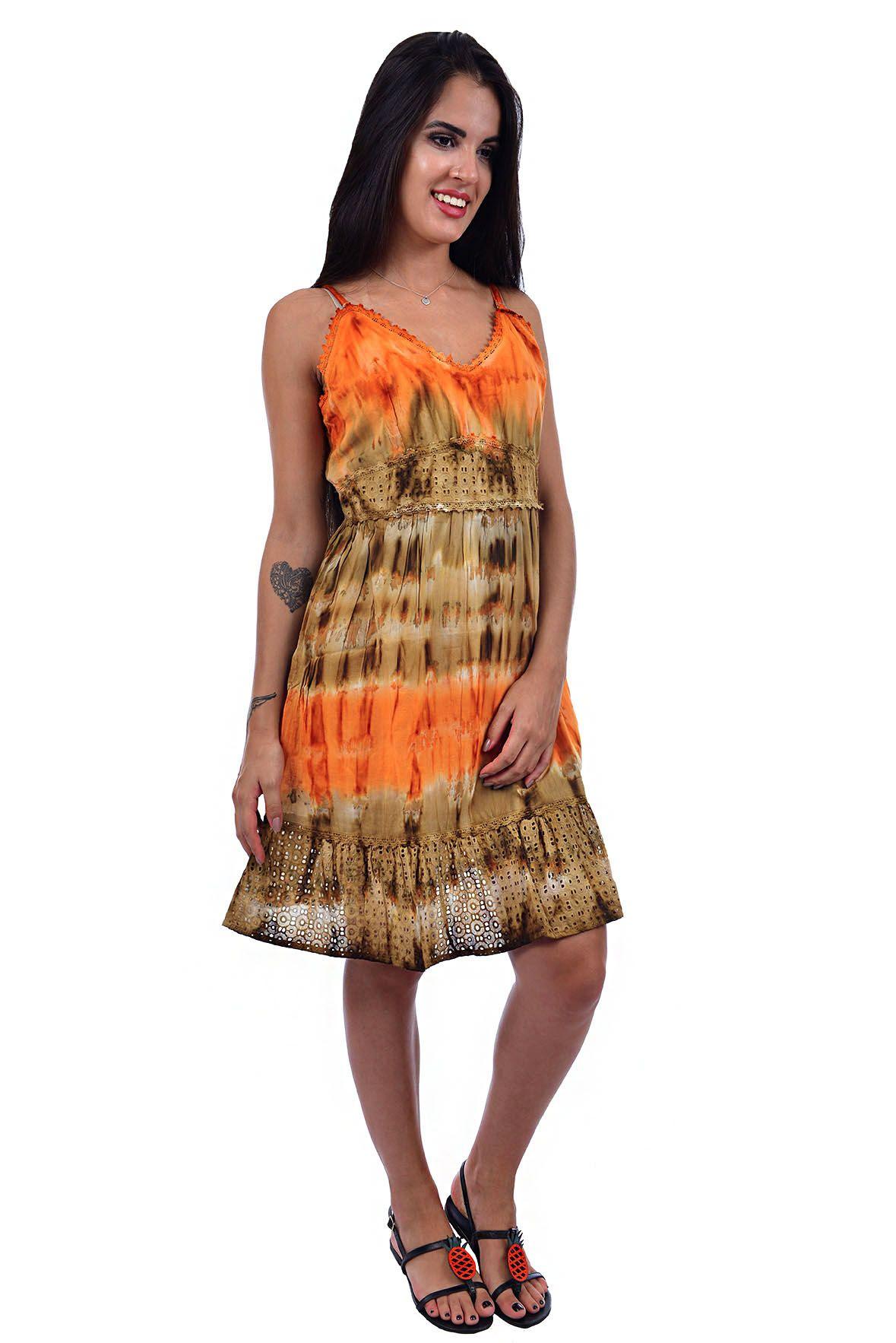 Vestido Tie Dye de Alcinha Laranja