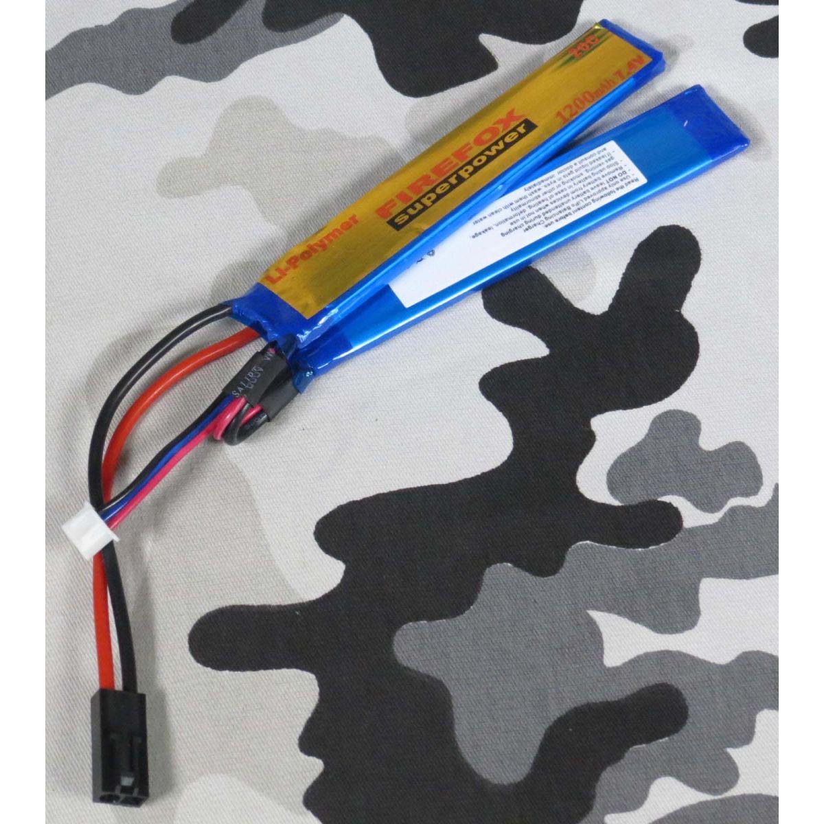 Bateria Li-Po FireFox 7.4V 20C - 1200 mAh (azul)  - MAB AIRSOFT