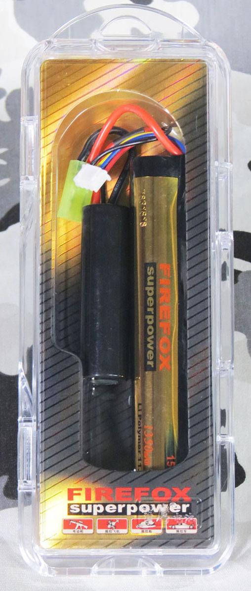 Bateria Li-Po FireFox 11.1V 15C - 1350 mAh (2 tubetes)  - MAB AIRSOFT