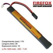 Bateria Li-Po FireFox 7.4V 20C - 1600 mAh