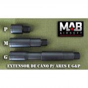 Extensor de Cano p/ Ares e G&P - Tamanho (P) - rosca Esq/ Dir