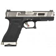 Pistola Airsoft WE Glock G17 T7 GBB Metal e Polimero Preta / Prata - Calibre 6 mm #