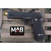 Pistola Airsoft WE Hi-Capa 5.1 A Black Dragon GBB Full Metal Preta - Calibre 6 mm