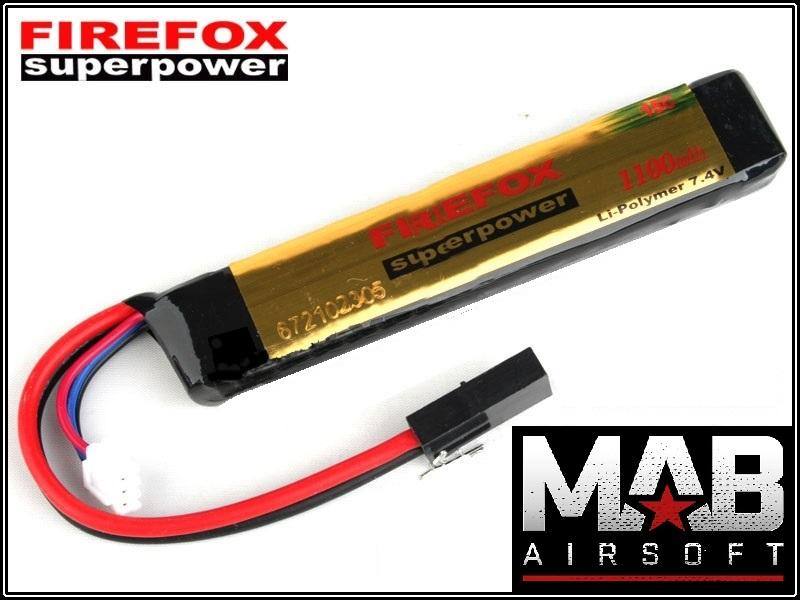 Bateria Li-Po FireFox 7.4V 15C - 1100 mAh  - MAB AIRSOFT