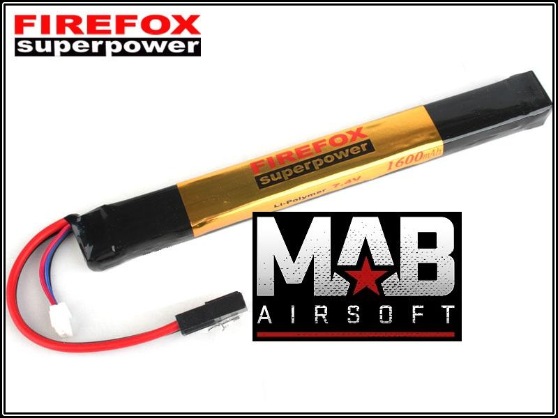 Bateria Li-Po FireFox 7.4V 20C - 1600 mAh  - MAB AIRSOFT