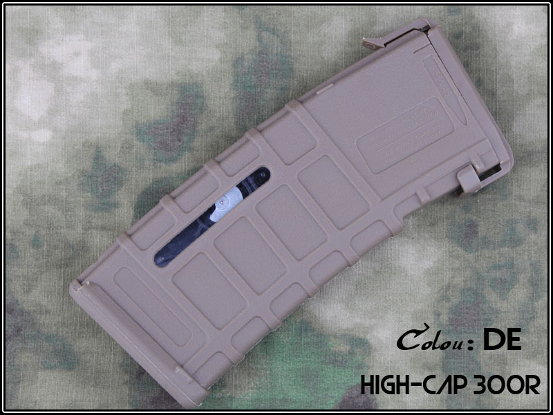 Magazine Hi-cap plástico M4/M16 300 BBs - cor: TAN (munição)  - MAB AIRSOFT