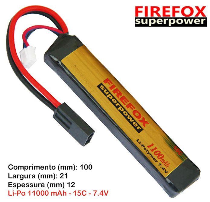 Bateria Li-Po FireFox 7.4V 15C - 1100 mAh