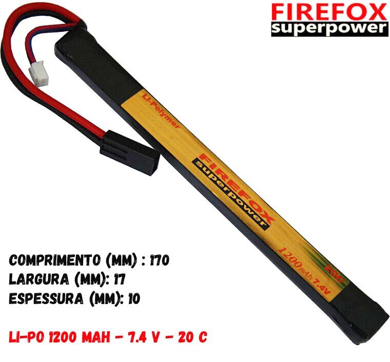 Bateria Li-po Firefox 7.4V 20C - 1200 mAh (preta)  - MAB AIRSOFT