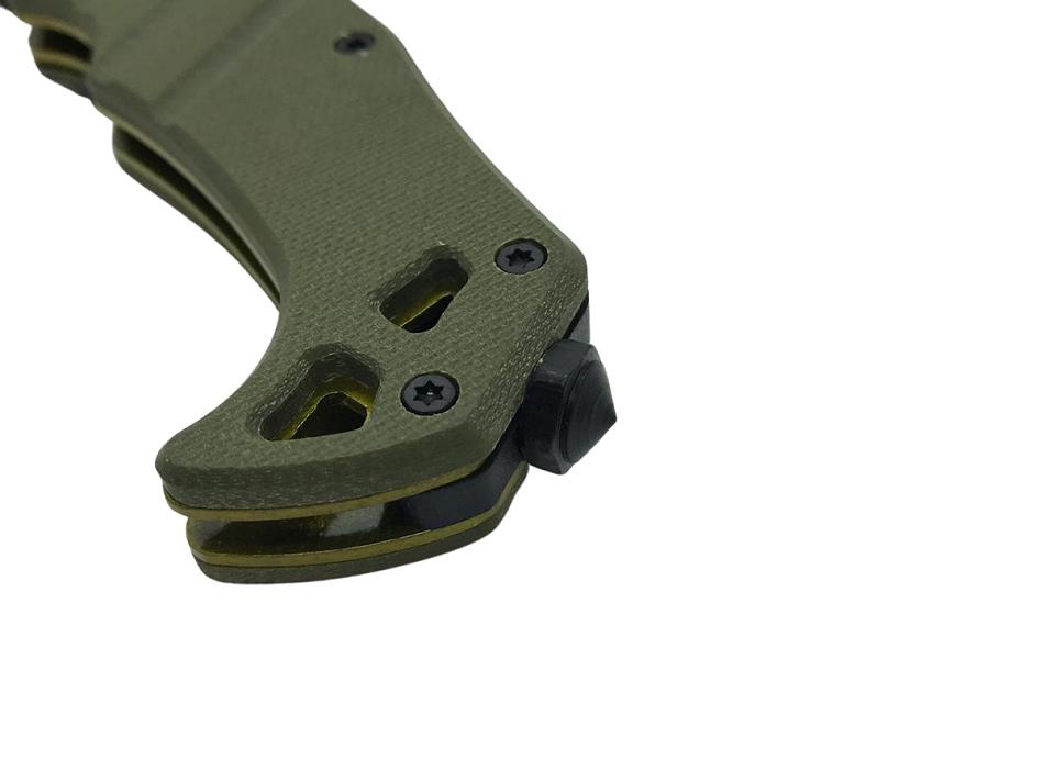 Canivete Tático Lamina Cerrilhada e Quebra Vidro - Preto e Verde (FL13067) #  - MAB AIRSOFT