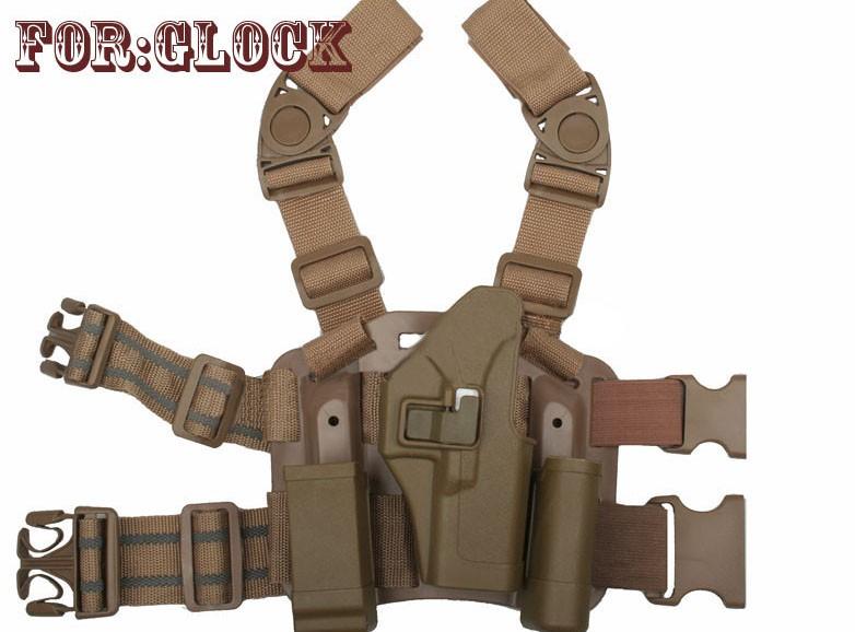 Coldre de Perna Blackhawk em Polímero - Mod. Glock - Cor: TAN  - MAB AIRSOFT