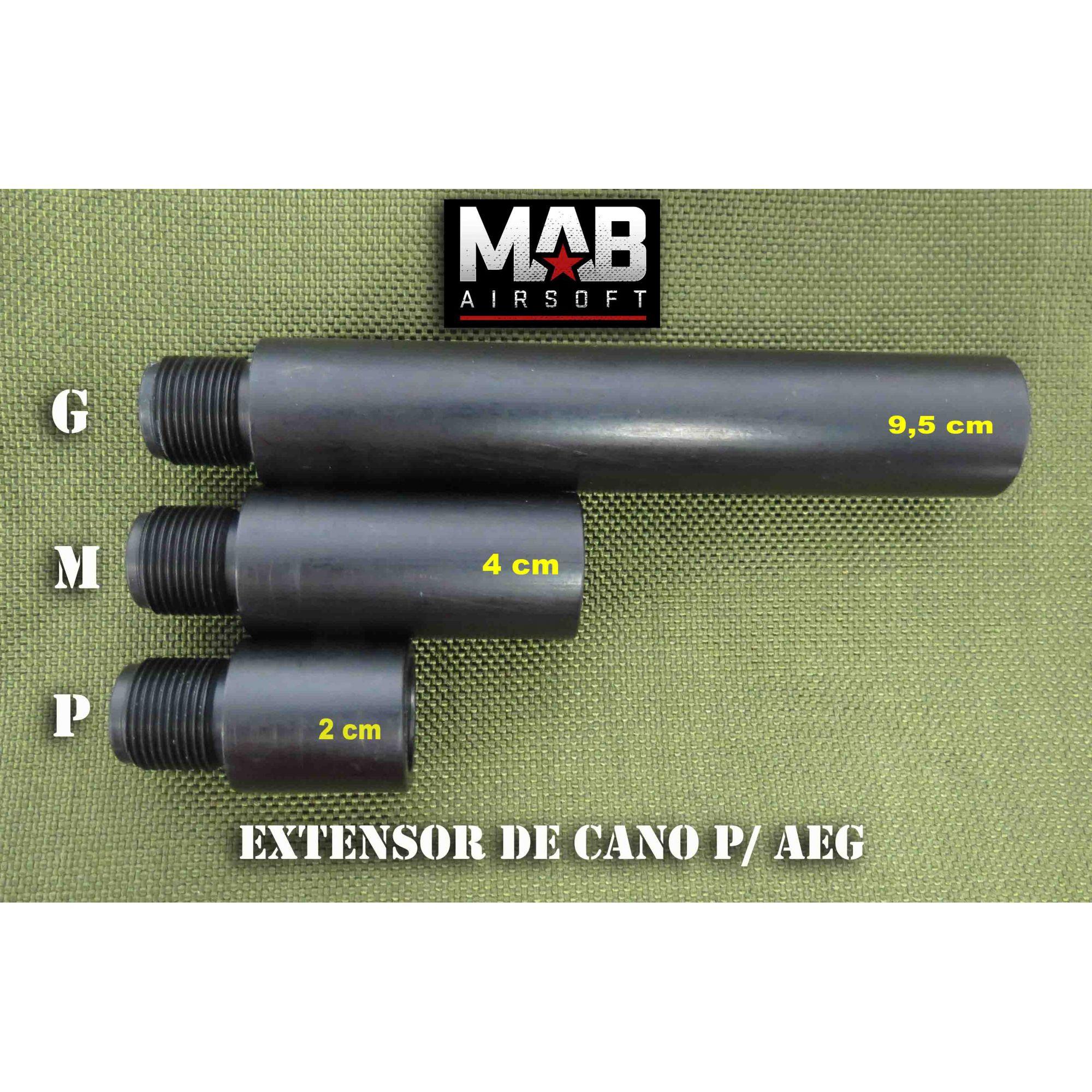Extensor de Cano p/ AEG - Tamanho (G) - rosca Esquerda/ Esquerda  - MAB AIRSOFT