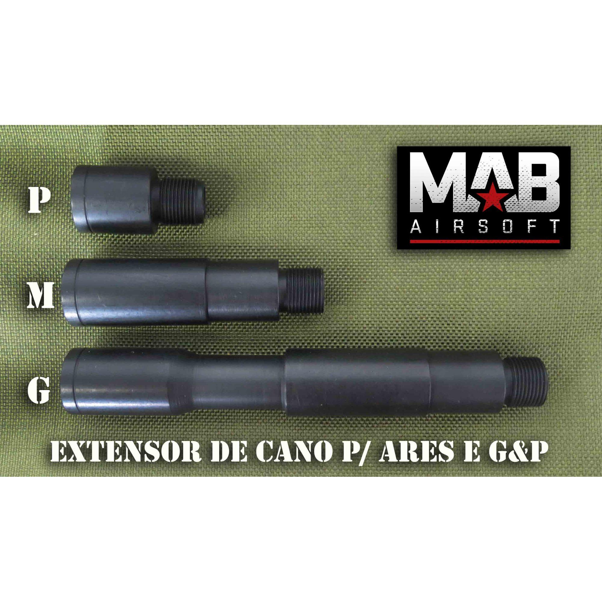 Extensor de Cano p/ Ares e G&P - Tamanho (G) - rosca Esq/ Dir  - MAB AIRSOFT