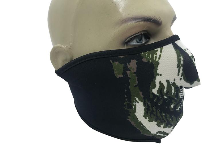 Máscara Meia Face em neoprene - Caveira/Preta  - MAB AIRSOFT