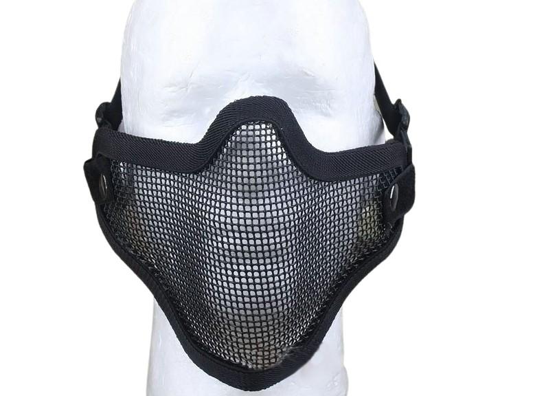 Meia Máscara de Proteção c/ Tela Metálica (Boca/ Nariz) - Cor PRETA  - MAB AIRSOFT
