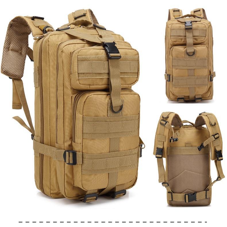 Mochila Tatica Militar WSH Sistema MOLLE Cordura 600D capacidade 30 L - Cor: TAN