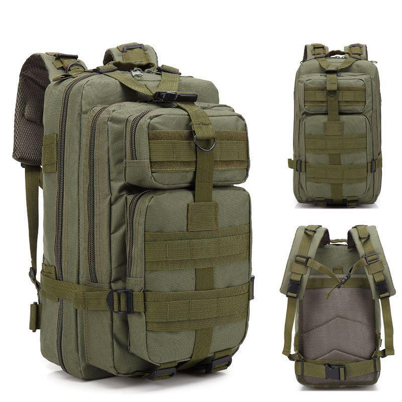 Mochila Tatica Militar WSH Sistema MOLLE Cordura 600D capacidade 30 L - Cor: Verde