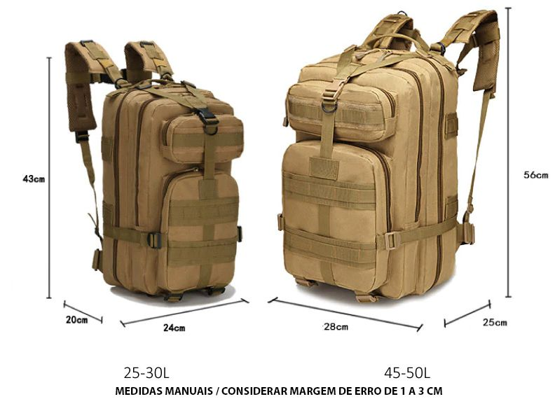 Mochila Tatica Militar WSH Sistema MOLLE Cordura 600D capacidade 45 L - Cor: TAN  - MAB AIRSOFT