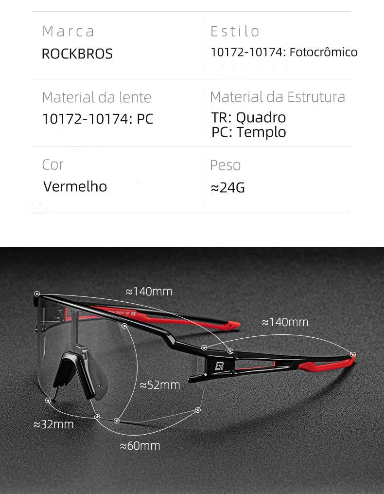 Óculos Bicicleta Foto cromático Rockbros RB-10173 (Preto/Vermelho)  - MAB AIRSOFT