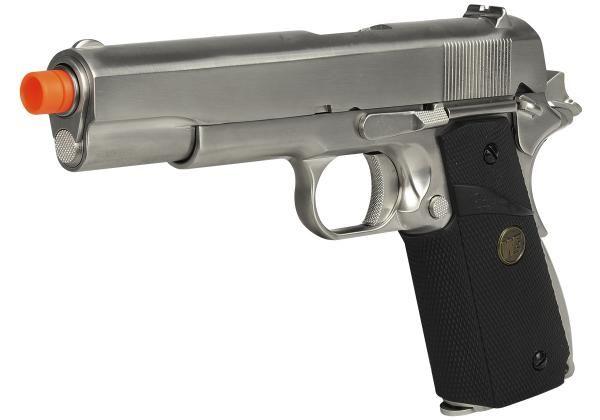 Pistola Airsoft WE 1911 MEU Gen. 2 GBB Full Metal Prata - Calibre 6mm