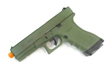Pistola Airsoft WE Glock G17 Gen 3 GBB Metal e Polimero OD/OD - Calibre 6 mm #  - MAB AIRSOFT