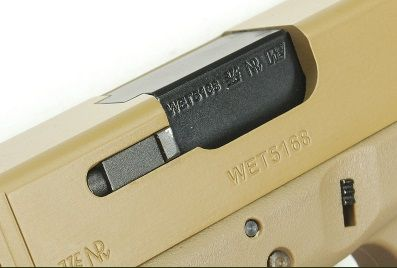 Pistola Airsoft WE Glock G17 Gen 3 GBB Metal e Polimero TAN/TAN - Calibre 6 mm #  - MAB AIRSOFT