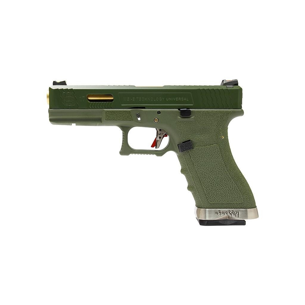 Pistola Airsoft WE Glock G17 T11 GBB Metal e Polimero Verde / Verde - Calibre 6 mm *  - MAB AIRSOFT