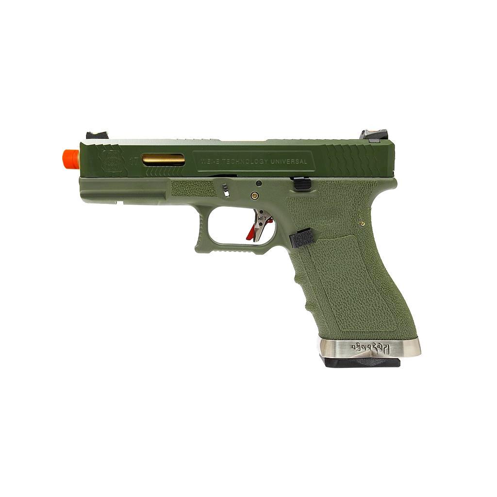 Pistola Airsoft WE Glock G17 T11 GBB Metal e Polimero Verde / Verde - Calibre 6 mm *  - MAB AIRSOFT