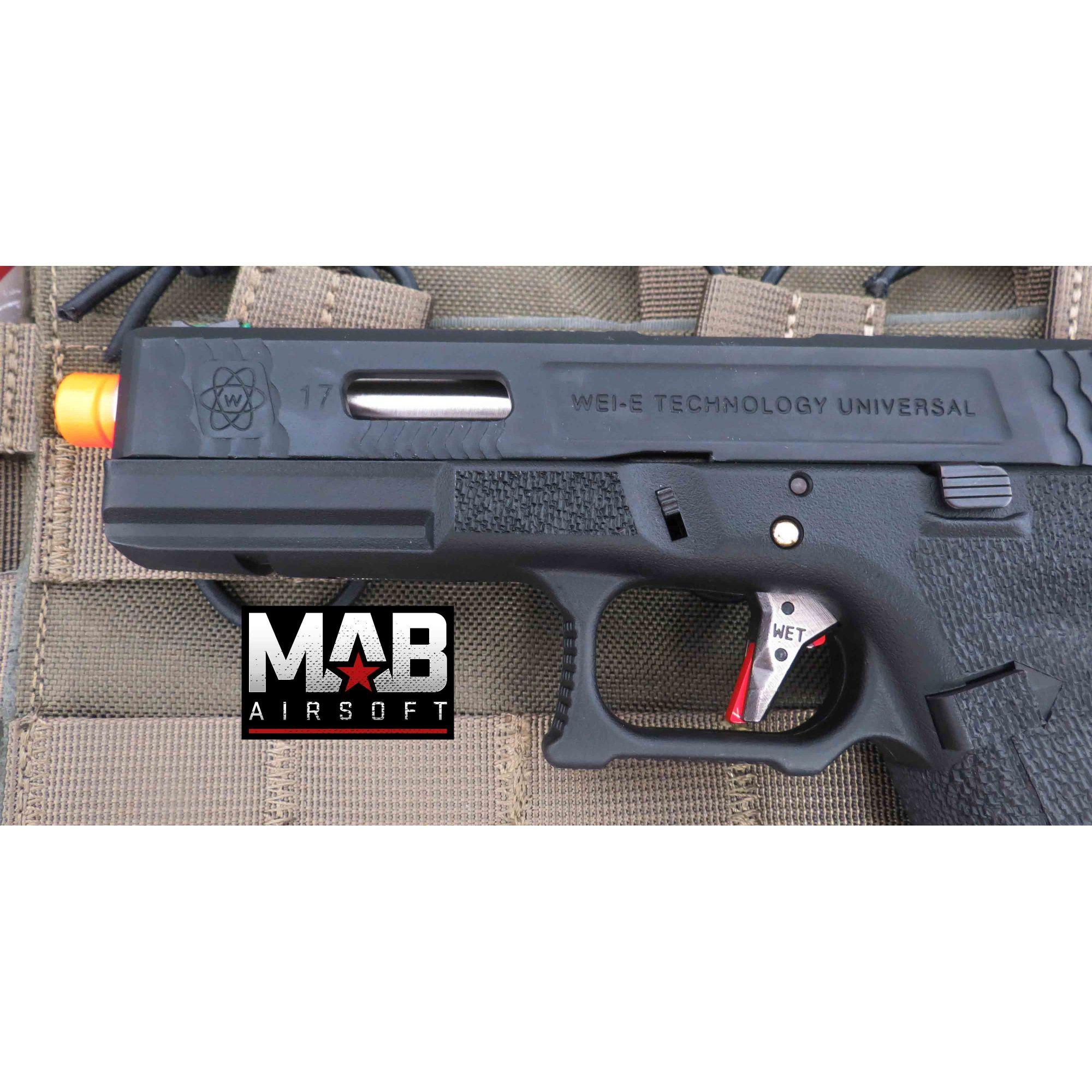 Pistola Airsoft WE Glock G17 T5 GBB Metal e Polimero Preta - Calibre 6 mm  - MAB AIRSOFT