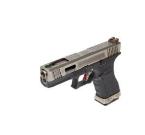 Pistola Airsoft WE Glock G17 T7 GBB Metal e Polimero Preta / Prata - Calibre 6 mm #  - MAB AIRSOFT
