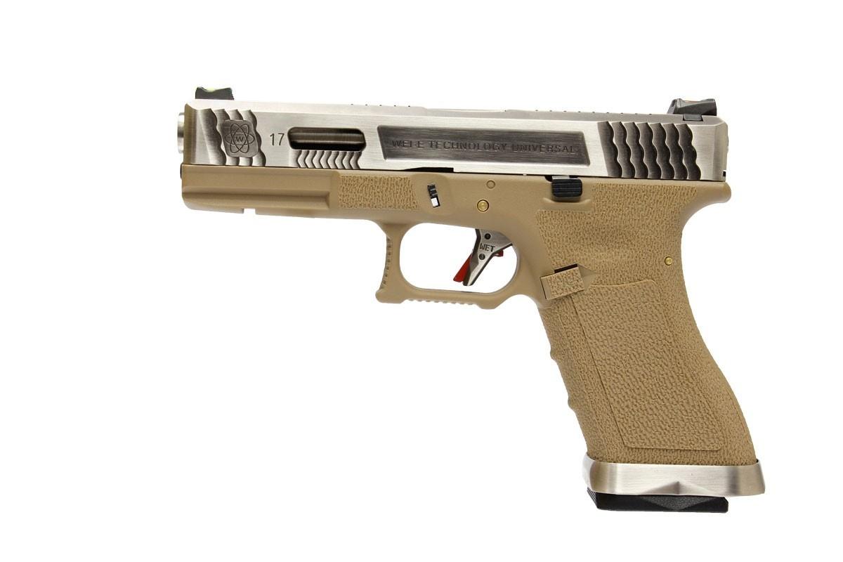 Pistola Airsoft WE Glock G17 T8 GBB Metal e Polimero Preta / Tan - Calibre 6 mm #