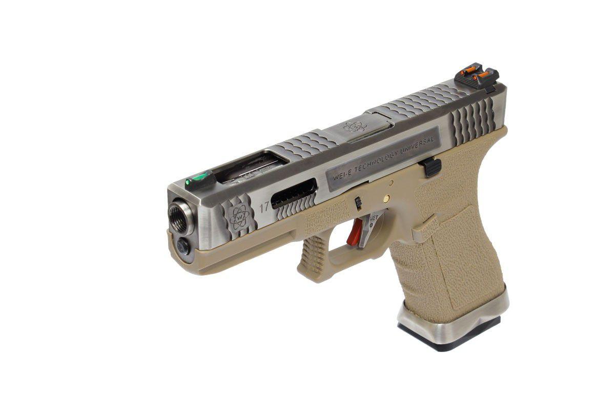 Pistola Airsoft WE Glock G17 T8 GBB Metal e Polimero Preta / Tan - Calibre 6 mm #  - MAB AIRSOFT