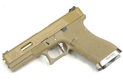 Pistola Airsoft WE Glock G17 T9 GBB Metal e Polimero Tan / Tan - Calibre 6 mm #
