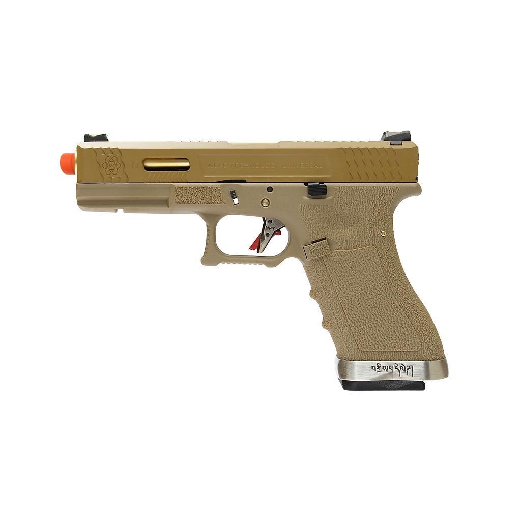 Pistola Airsoft WE Glock G17 T9 GBB Metal e Polimero Tan / Tan - Calibre 6 mm #  - MAB AIRSOFT