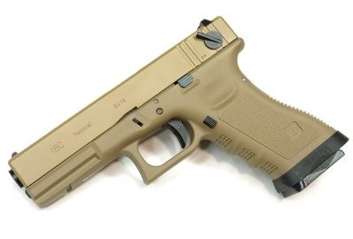 Pistola Airsoft WE Glock G18 Gen 3 GBB Metal e Polimero TAN/TAN - Calibre 6 mm #