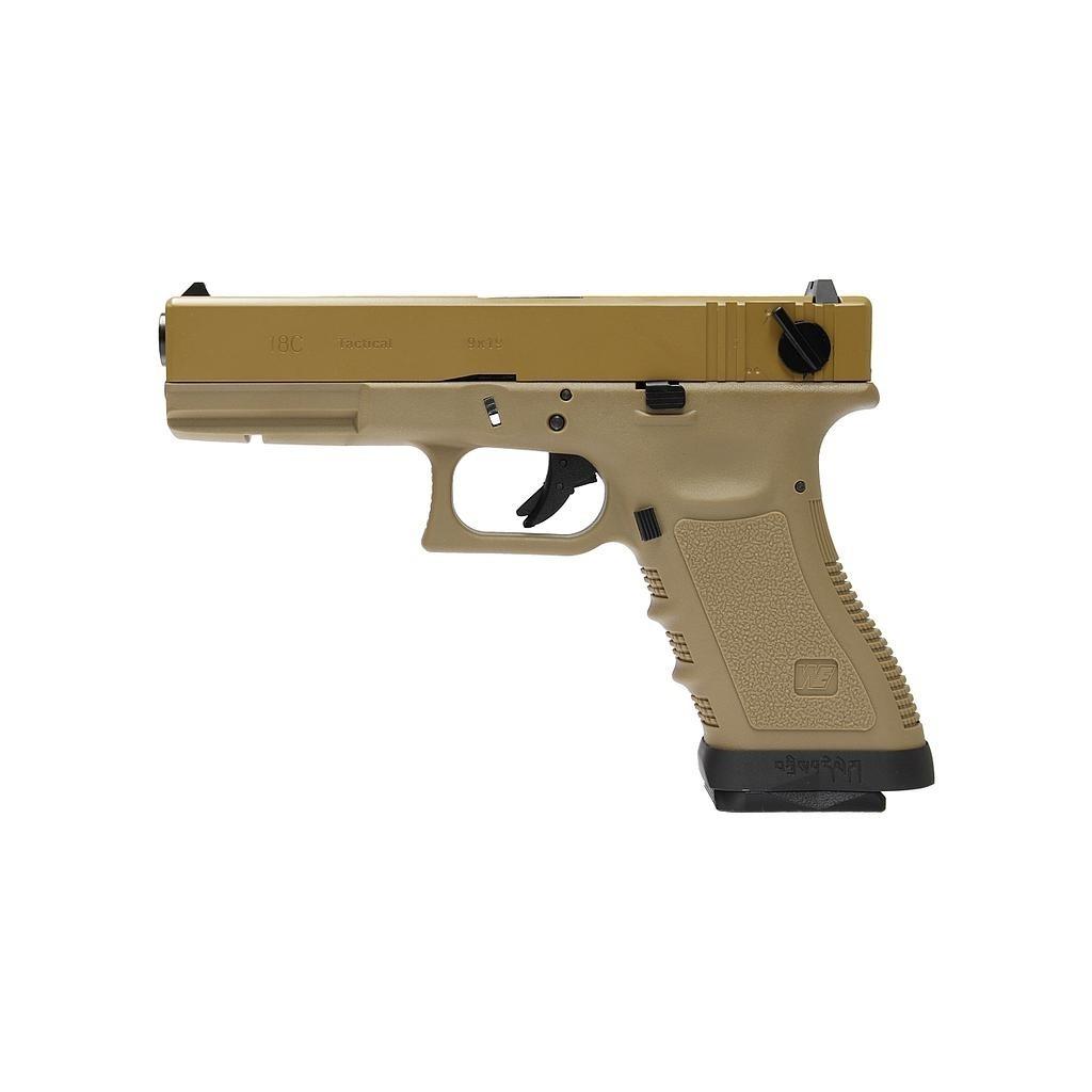 Pistola Airsoft WE Glock G18 Gen 3 GBB Metal e Polimero TAN/TAN - Calibre 6 mm #  - MAB AIRSOFT