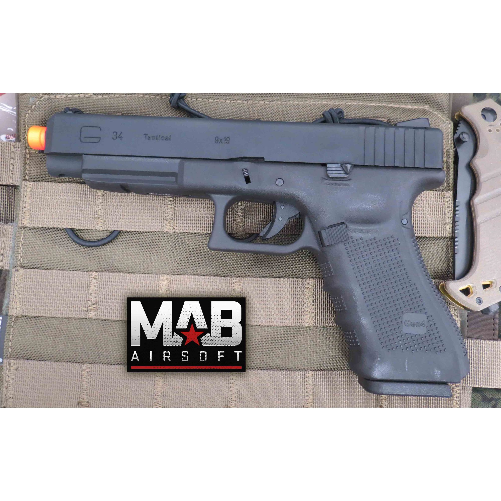 Pistola Airsoft WE Glock G34 Gen 4 GBB Metal e Polimero Preta - Calibre 6 mm